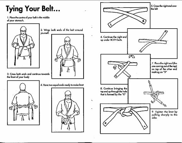 What is the proper way to tie my belt? See this helpful diagram. back to top